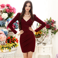 2012 autumn/ Wine red/ OL / V-neck/ pleated / long-sleeve pary dress  free shipping