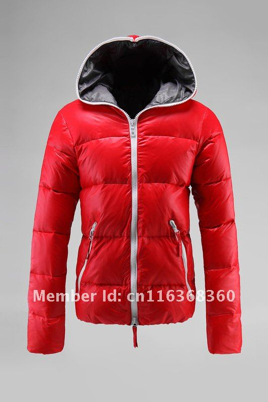 Women's red down jackets – Modern fashion jacket photo blog
