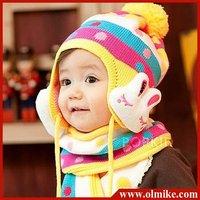 New Arrival cartoon rabbit childrens hat baby hat + scarf children animal hat warm earmuffs baby cap kid beret winter Gift UW029