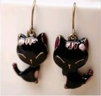 Sunshine jewelry store vintage black glazing cat earrings E142 ( $10 free shipping )