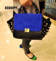 Fashion c genuine leather electrooptical blue rivet color block bag women's handbag