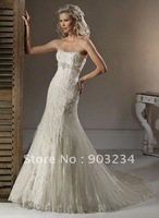 Free Shipping Wholesale/retail Lace Wedding Dresses Bridal Gowns Customize Any Size & Color S19063