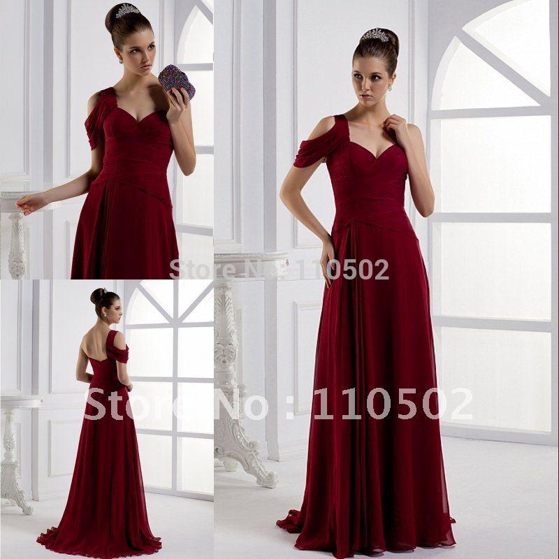 Free shipping elegant latest design straight one shoulder mature prom dresses dark red NEW JERSEY   Christina Thompson