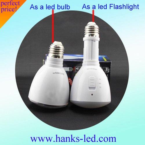 LED Flashlight 3W 200Lumen E27 Lamp Base LED dimmable Emergency Light, free shipping(China (Mainland))