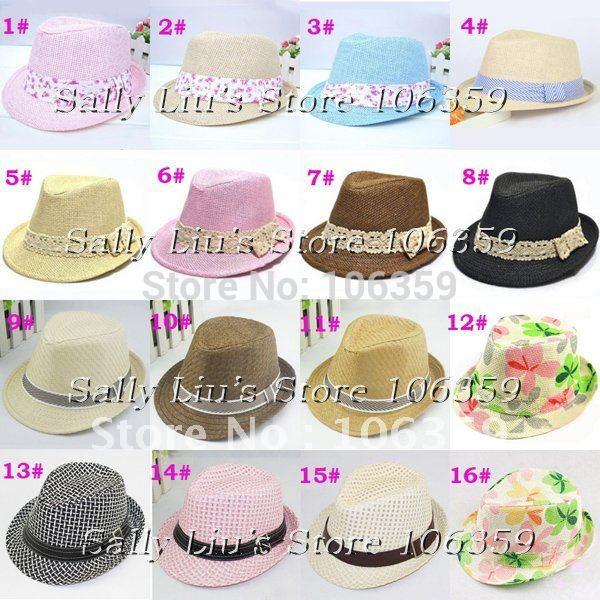 Children Summer Hat Baby Fedora Hat Kids Jazz Cap Baby Straw Cowboy Hat Boys/Girls Fedoras Dicers 10pcs(China (Mainland))