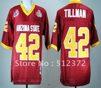 Free Shipping!!! 2012 new style #42 Pat Tillman Arizona State Sun Devils Red College Football Throwback Jersey