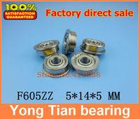 10pcs free shipping flange bushing ball bearings F605ZZ 5*14*5 mm