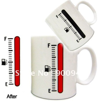 Novelty items/Magic Heat Sensitive Color Change Fuel Gauge Design Beverage Plastic Coffee Milk Cup Mug  # L01125