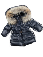 2012 Hot sell children's down coat,boys girls Dark Blue medium-long style down cost with belt and large fur collar