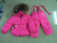 2012 TOP QUALITY baby down coat children down sets girls buddhistan red matt set large fur collar