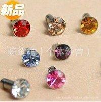 Free shipping+200pcs/lot+HOT Wholesale CZ Diamond Cellphone Dust Plug, Earphone Dust Plug For Iphone 4/4s, 8 Colors