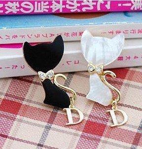 Fashion Vintage Cute Rhinestone White Black Shell Cat Letter D Bowknot Brooch X4