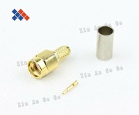 SMA male Plug center crimp for RG58 LMR195 RG142 RG400 Free shipping