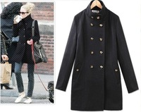 Free shipping, women fashionable winter double-breasted slim outerwear, lady noble warm coat ,plus size  XS-2XL