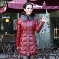 Hodginsii down coat leather clothing women's fox fur long design sheepskin leather coat i1202