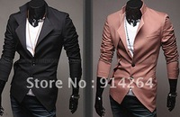 Mens Slim Irregular Style Suit fit Two Button Casual Blazer Coat Jackets  / free shipping