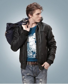 2012 Men locomotive warm leather jacket hooded slim windshield leather FLM005