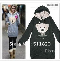 free shipping new arrival women's autumn ,winter  bear long warm hoodies,women's long sleeves Sweatshirts coats