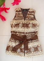 Free shipping 2012 new fashion winter Female Snow pattern with belt Faux Fur Waistcoat vest#C0026