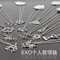 Free shipping, wholesale Exo k m 12 members necklace  alloy silver color kpop fashion  k-pop jewelry