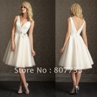 Free Shipping!!!Sexy plunging v-neck short skirt with flower waistband tea length tulle wedding dress