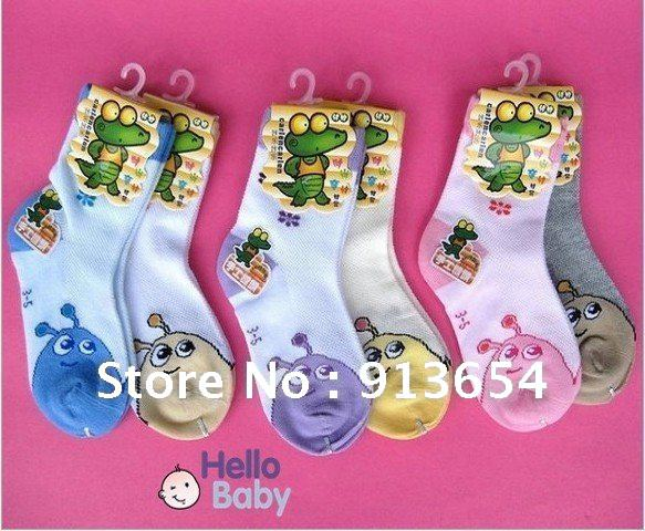 Free shipping,(24pair/lot)Children's socks wholesale, thin cotton kids socks/cartoon style mesh breathable socks(China (Mainland))