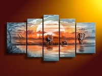 100% Hand painted Free shippingBlue lake forest elephants landscape Oil Painting canvas5pcs/set DY-095