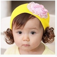 Free shipping Autumn and winter infant pullover toe cap covering cap yarn child pullover rose yarn flower wig hat a32