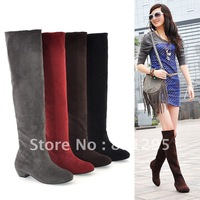 HOT Selling !!  Fashion  elastic flannelet round toe low-heeled  female high-leg boots boots for women Free shipping