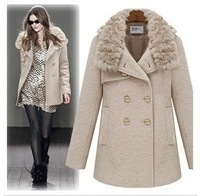 2012 BRITISH STYLEfashion women's fur collar outerwear,woolen trench, wool &blends thick overcoats jackets free shipping
