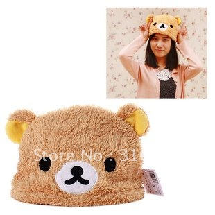 J4 Free Shipping , Soft Cartoon Rilakkuma Bear Plush Hat,  Fashion christmas Gift