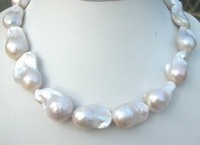 Beautiful bride Jewelry Ladies Genuine HUGE SOUTH SEA WHITE 16-25MM BAROQUE PEARL NECKLACE 18""