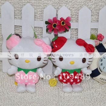 "Free shipping 7"" Strawberry Hello Kitty High Quality Soft Plush Plush Doll New Wholesale"