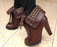 Ladies Lace Up Rivet Studs Cuffed Punk Biker Rock Emo High Heel Ankle Boots brown/black free shipping