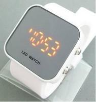 Free shipping, Wholesales White sports watch, Men's Digital Electronic LED Watch, fashion ladies watch makeup mirror