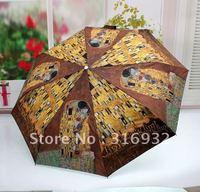 Free shipping! elargol anti-uv 3 folding vintage oil painting automatic umbrellas, 1pc