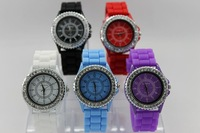 1pcs/lot Geneva silica gel table screen printing watch jelly watch unisex table ebay hot sell