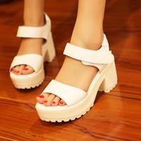 Summer 2013 female platform shoes platform shoes thick heel genuine leather white sandals fashion
