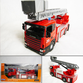 Scania 4 wheel fire ladder truck luxury gift box set alloy car model
