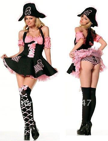 Sexy Skeleton Pirate Costume Christmas Halloween Corset Cosplay Festival Dress Black Free Shipping 1212