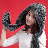 Quality rex rabbit hair fur hat scarf one piece cap female winter cold-proof warm hat