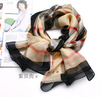 Vintage female Silk Scarf Long Scarves 100% Silk Chiffon Muslim Scarf Classic Plaid Print Shawls Wholesale Free Shipping