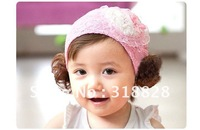 free shipping heart headband children hair accessories baby headwear hair styling lace rose flower hairbands