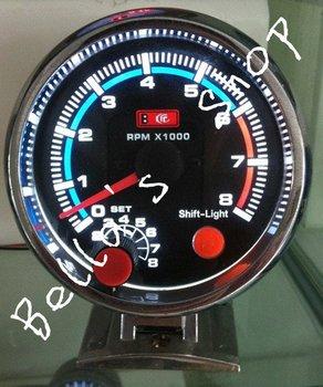 """Rev Counter , 3.75\"""" Diameter - 4, 6, 8 Cyl Shift Light, Retro Chrome Effect  AUTO GAUGE"""
