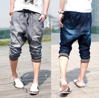 Casual Mens Pants Harem Slim Half Trousers Shorts Slacks Jeans Rope 4Size   / free shipping