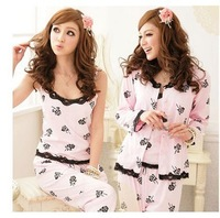 Free shipping sleepwear women's long-sleeve rose 3 pieces set sleepwear sexy princess