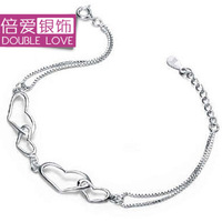 New 925 pure silver bracelet female fashion heart accessories