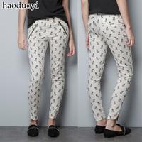 White high elastic satin placketing bulldog print pants gold oblique zipper trousers 6 full