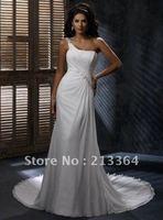 Free Shipping Beach Chiffon+Beading One-Shoulder Custom Made Wedding Bridal Dresses any size/colour wholesale/retail