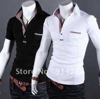 Mens Casual Slim Fit Polo Shirt T-shirts Tee Shirt 4SIZE 2COLOR    / free shipping